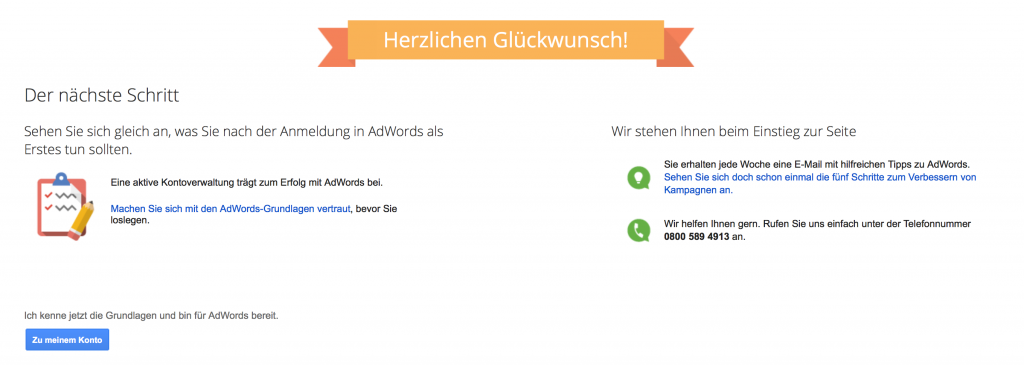 Adwords Account einrichten