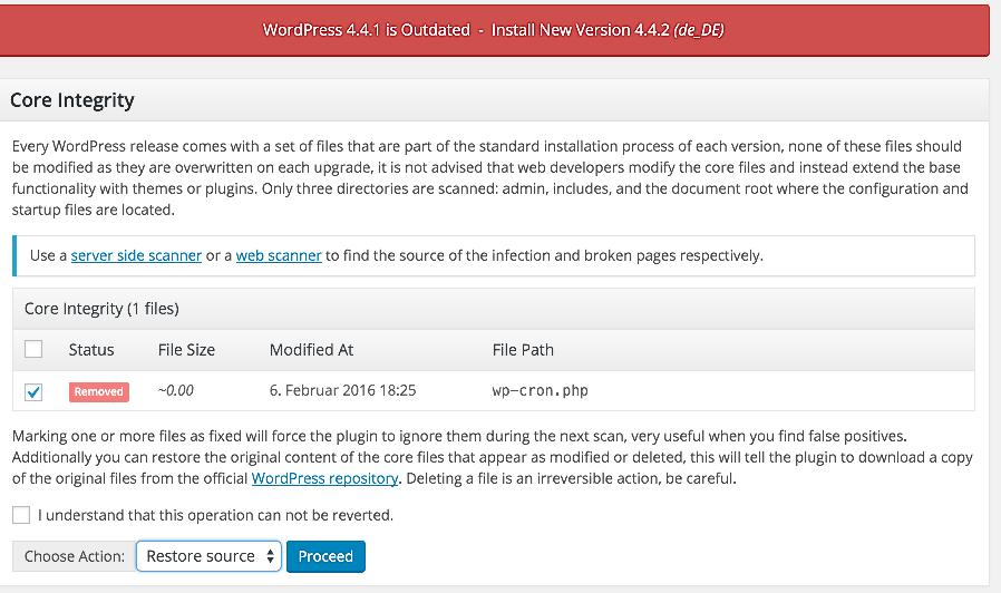 Restore WordPress File